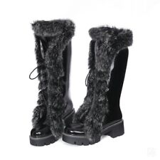 Women's Winter Lace Up Knee High Boots Snow Fur Lining /Fringe Shoes Size 34-43