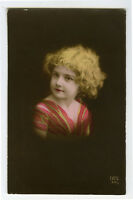 1910's Children Child CUTE LITTLE GIRL antique photo postcard