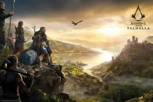 """Assassin's Creed: Valhalla - Gaming Poster (VIsta / Sunset) (Size: 36"""" X 24"""")"""