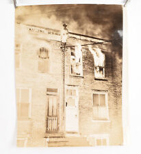 1940's Fireman Photo Philadelphia 11 x 14 17 Row home Fire Watson St V38