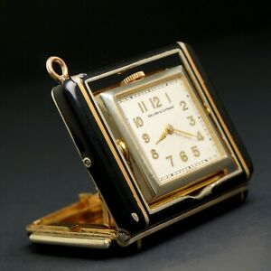 Rare Concord Art Deco Push Button Cabriolet Enamel Pendant Watch, Clock