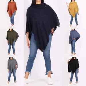 Italian Women's Plain Buttoned Cowl Neck Ladies knitted Lagenlook Tunic Poncho