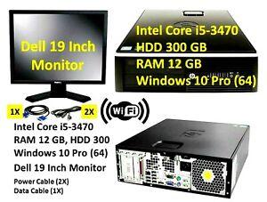 Desktop i5 - 3470 RAM 12 GB Hard 300 GB Windows 10 Pro 64  19inch Monitor (WIFI)