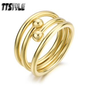 TTStyle Gold Tone Stainless Steel Ball Band Ring Size 6-8 NEW