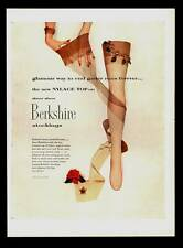 VINTAGE PRINT AD 1952 BERKSHIRE STOCKINGS NYLACE TOP DAVID WEBB JEWELRY