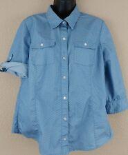 Christopher & Banks Womens Medium Button Down Blue Polka Dot Career L/S Shirt
