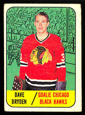 1967 68 TOPPS HOCKEY #57 DAVE DRYDEN RC VG-EX CHICAGO BLACK HAWKS ROOKIE CARD