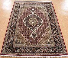 TABRIZ MAHI Hand Knotted Wool Silk RED BLACK NEW FINE Oriental Rug 4 x 6
