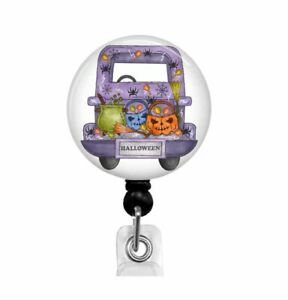 Spooky Truck Halloween Retractable ID Badge Reel Holder, Name Badge Holder, T56