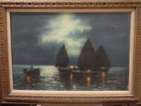 Vtg Martha Helen Williams 24 x 36 Impressionism Seascape Oil Painting