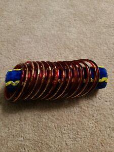 "Indian Glass Bangles /Bracelets - Red / Maroon 2.25"" Unique Set No Defects"