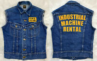VTG 70s LEE RIDERS Cat Diesel Power Denim Trucker Vest Jacket Industrial Biker