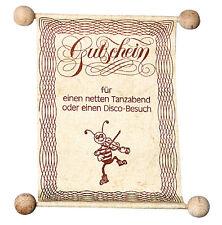 Gutscheinrolle Tanzabend Discobesuch aus Holz Gutschein Gutscheinvorlage