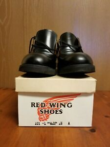 VTG Red Wing Heritage 101 Postman Oxford Black Leather Sweat Proof Shoes 15 A