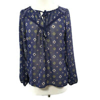 Socialite Women's Blouse Top Sheer Tunic Size XL Blue Long Sleeve Geometric Boho