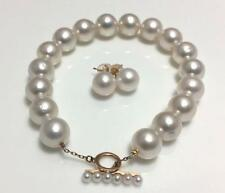 Good quality 10mm Broome white south sea pearl bracelet 14K yellow gold