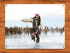 """TIN SIGN """"Pirates of the Caribbean Capt Jack Run"""" Disney Decor"""