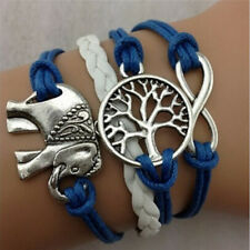New Retro Infinity Elephant Digit Leather Rope  Wishing Trees Charm Bracelet fo