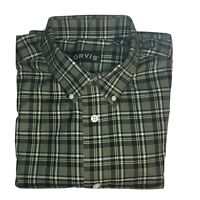 Orvis Shirt Mens Large Tall Cotton Green Plaid Long Sleeve Button Up