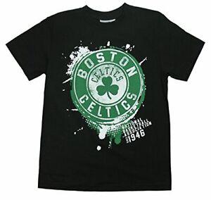 Outerstuff Basketball NBA Youth Boston Celtics Splatter Logo T-Shirt Top - Black