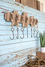 RECYCLED WOODEN COAT RACK WITH SEVEN HANGING HOOKS keys hat Bath towel Jewelry