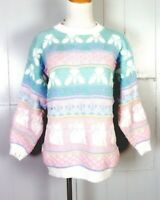 vtg 80s Parkway Knits Baby Pastels Sparkly Cats Sweater Cat Kawaii Fairy Kei M/L