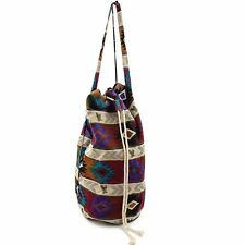 Vtg Canvas Drawstring Duffle Bag Aztec Soutwest Print American Eagle Boho