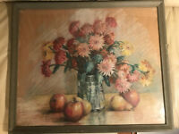 """Antique """"Still-Life With Flowers And Fruits Scene"""" Pastel Painting-Signed/Framed"""