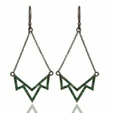 Lotus Dangler Earring Sterling Silver Gemstone Earring with Tsavourite Jewelry