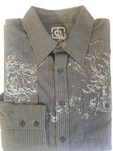Outlooks men's L Cotton Blend Black Striped Print long sleeve NWT