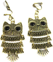 Girls Womens Cute Bronze Tone Owl Cushioned CLIP ON Non Pierced Earrings