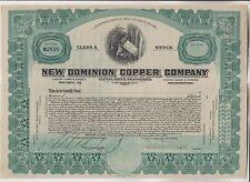 VINTAGE STOCK CERTIFICATE - NEW DOMINION COPPER COMPANY - ARIZONA