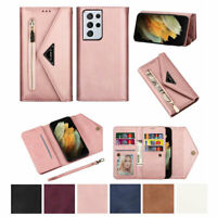 Luxury Deluxe Handy Wallet Leather Case Cover Holder For Samsung Galaxy Phone