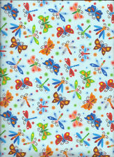 New Light Blue Butterflies & Dragonflies w/flower Flannel Fabric by the 1/4 Yard