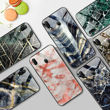 Tempered Glass Case for Samsung Galaxy M20 Protective Marble TPU Back Cover Skin