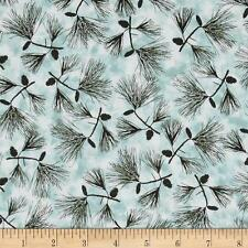Fabric Pine Trees at Misty Dawn Teals Boughs on Blue Cotton 1 yard Sale