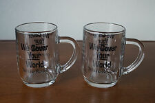 "2 Vintage Glass Pittsburgh Tribune Review ""We Cover Your World"" Coffee Mugs Cups"