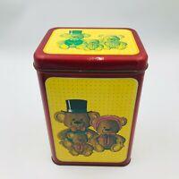 """Vintage 1986 Parco Foods Teddy Bear Family Tin 8 3/4"""" Tall -- 5 1/8"""" x 5"""""""