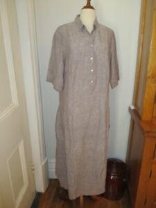 hammock & vine linen long shift tunic dress 16 beige