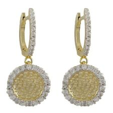 Womens Two Tone Gold Finish Sterling Silver CZ Hammered Circle Dangle Earrings