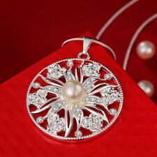 925 Hallmark Sterling Silver Filled SF Pearl CZ Round Pendant Necklace N461