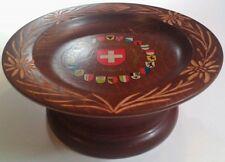 Music Bowl Handmade in Switzerland Rotating Edelweiss Rare Vhtf Carved Winding