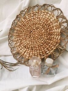 Vintage Straw Wicker Woven Braided Placemat Mat Boho