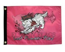 "Pirate Dog 12"" x 18"" Loot Plunder Play Paw Prints Two Sided 200Denier Flag Usa"