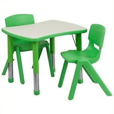Flash Furniture Curved Rectangular Plastic Activity Table Set with 2 School S.