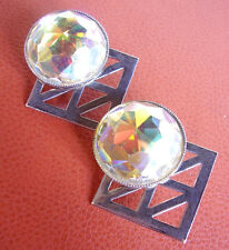 2248 / SCOOTER / BOUCLES D'OREILLE CLIPS CHROME ET STRASS
