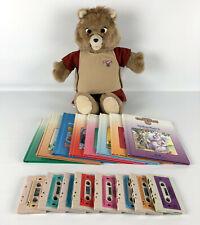 "Teddy Ruxpin Talking Bear 20"" w/8 Books & Cassettes - Tested & Working"