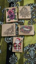 Large Flower Rubber Stamps Lot of 5 Wood Mount Crafts Scrapbook Roses