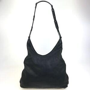 100% Authentic PRADA Leather Shoulder Bag Black [Used] {05-400C}