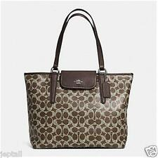 Coach F33960 Brown Signature PVC Ward Tote Bag Brand New Jeptall